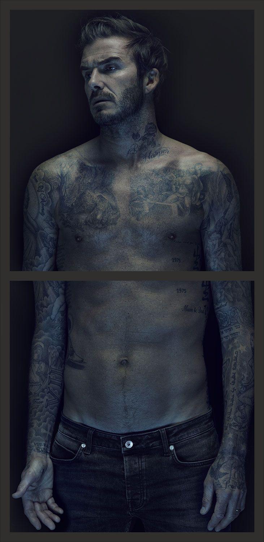 David Beckham photographed by Nadav Kander for David Beckham: The Man. David Beckham Shirtless Tattoos.