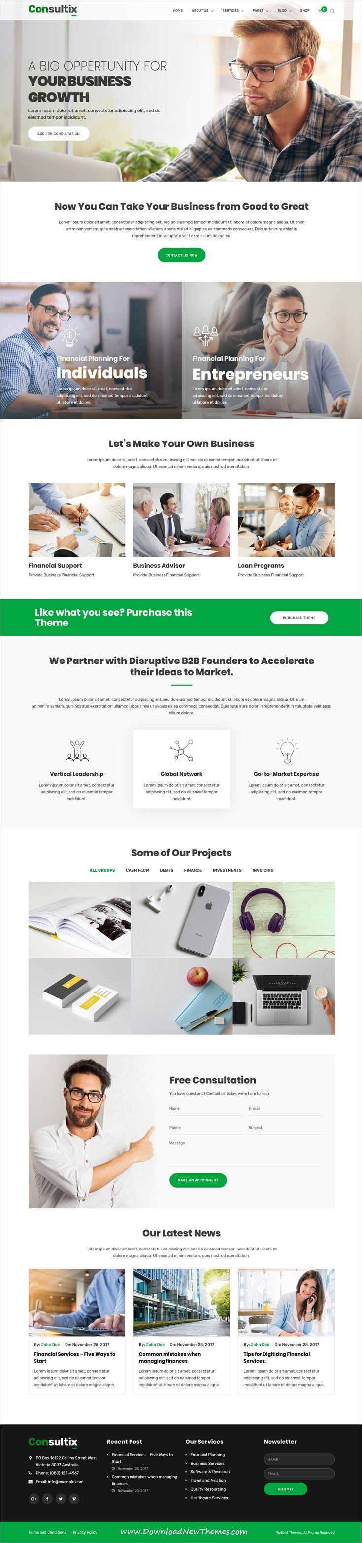 Consultix is clean and modern design responsive WordPress template for professional corporate business and financial services website with 14 #niche homepage layouts to live preview & download click on image or Visit  #webdesign #corporatewebsite