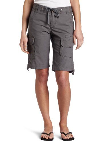 Dickies misses 12 inch relaxed fit drawstring cargo short with hollywood waistband and twill tape drawstrings at waist and side hem bellowed cargo pockets and back flap pockets with button closures garment washed stretch ripstop fabric for strength and comfort