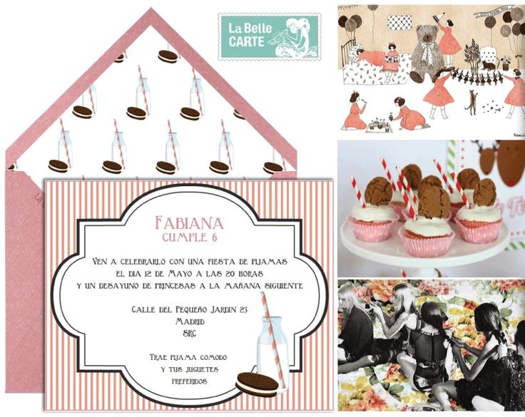 Slumber party pajama sleepover invitations and ideas - Invitaciones e ideas para fiestas de pijamas - La Belle Carte