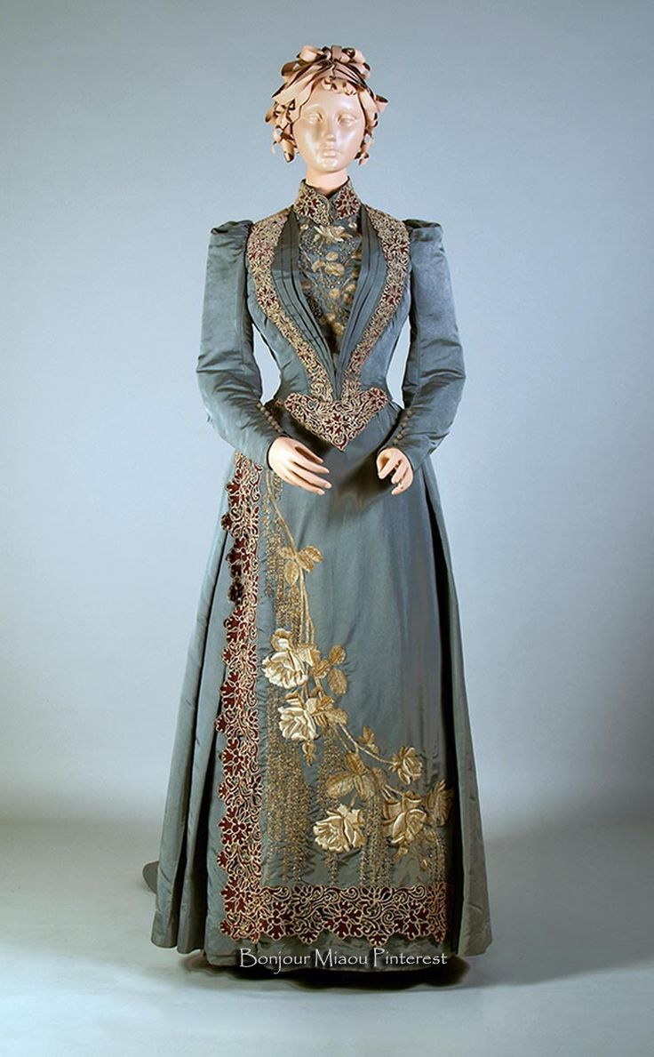 Afternoon dress, Mme Chamas, Paris, ca. 1890-92. Blue-gray silk faille, embroidered. Kent State Univ. Museum Pinterest