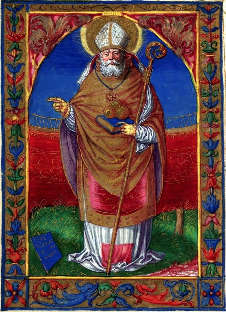 Saint Nicholas, a leaf from the Prayer Book of Albertus Gastold by Stanisław Samostrzelnik, 1528 (PD-art/old), Bayerische Nationalmuseum; from the dowry of Anna Catherine Constance Vasa