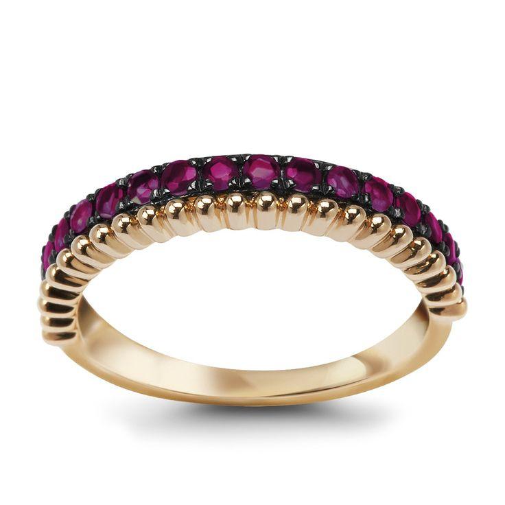 Złoty pierścionek z rubinami