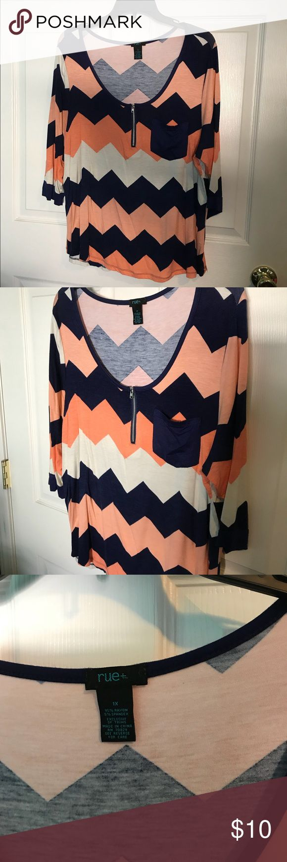 Rue 21 Peach, Navy and White Chevron Top Very cute and well cared for...you'll LOVE this comfy top! The beautiful colors with the chevron print makes this top pop! Even though this is a preloved top, it shows no visible signs of wear. Rue 21 Tops Tees - Long Sleeve