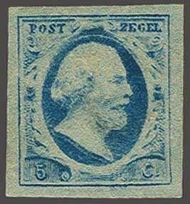 Netherlands 5 cent blauw plaat VI op dun papier, pracht ex., cat.w. 250  Lot condition (*)  Dealer Corinphila Veilingen  Auction Starting Price: 60.00E...