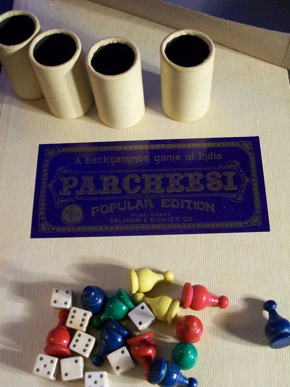 1959 Parcheesi Board Game  A Backgammon Game of by LucysLuckyDeals