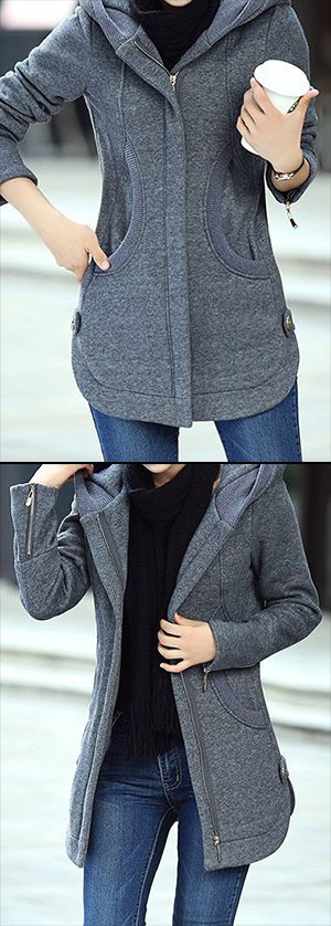 Long Sleeve Zipper Up Hooded Collar Grey Coat, check out our site to buy now.