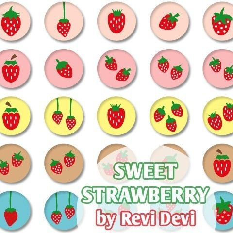 Sweet Strawberry 16130  Printable Circle 1313 inch  by BlessedShop