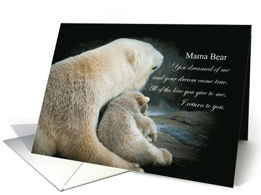 2nd place winner, February Design Challenge - First Mother's Day - Happy 1st Mother's Day Mama Bear Polar Bear and Cub card by @betsyspics