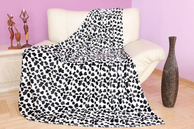 Luksusowy koc w kolorze białym z czarnym wzorem