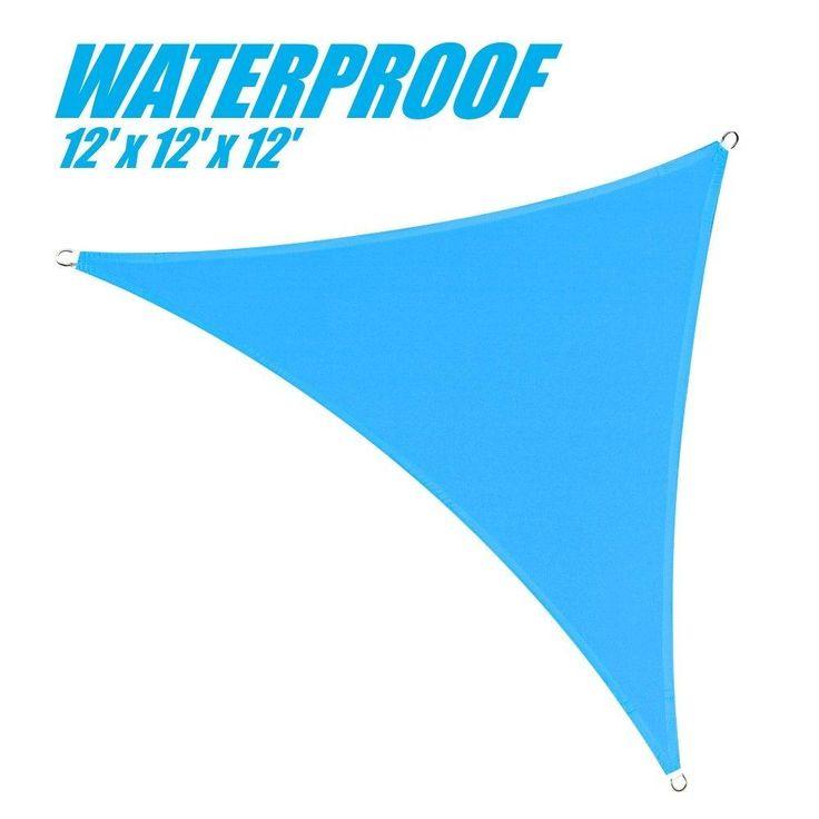 100% BLOCKAGE Waterproof 12' x 12' x 12' Sun Shade Sail Canopy Triangle Blue
