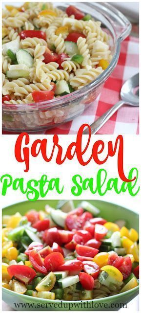 Garden Pasta Salad recipe from Served Up With Love. A great way to use up all those fresh veggies from the garden. #easy #recipes #pasta