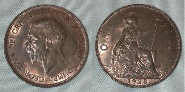 Beautiful Toned Bronze Coin 1928 Penny from Great Britain King George V Beautiful About Uncirculated or Better
