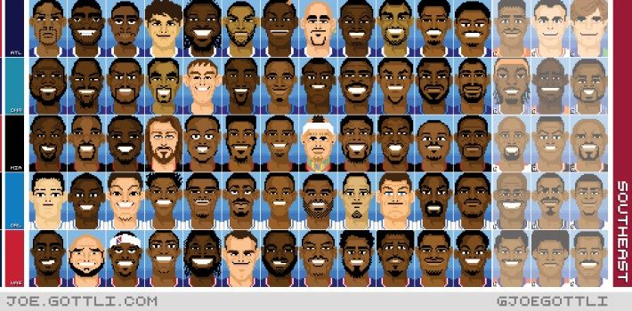 Una obra de arte diferente. Los jugadores de la NBA en 16 bits. ¿A cuántos reconoces? #baloncesto #basket #basketbol #basquetbol #kiaenzona #equipo #deportes #pasion #competitividad #recuperacion #lucha #esfuerzo #sacrificio #honor #amigos #sentimiento #amor #pelota #cancha #publico #aficion #pasion #vida #estadisticas #basketfem #nba