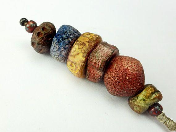 Artisan Porcelain Beads present gift red black gold blue