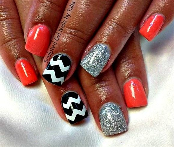 Coral Color Nail Designs: 25+ Best Ideas About Coral Chevron Nails On Pinterest