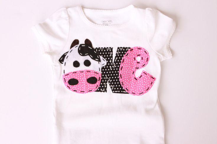 Farm birthday shirt, one, cow, 1st,  t shirt, barnyard, farm theme, girl pink green. $21.99, via Etsy.