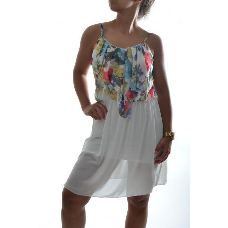 Letné šaty na ramienka so vzorom - biele