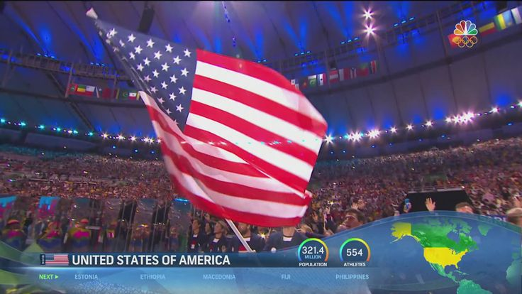 Michael Phelps, Carmelo Anthony and Team U.S.A enter Maracanã Stadium to roaring cheers from the Rio crowd during the Parade of Nations.
