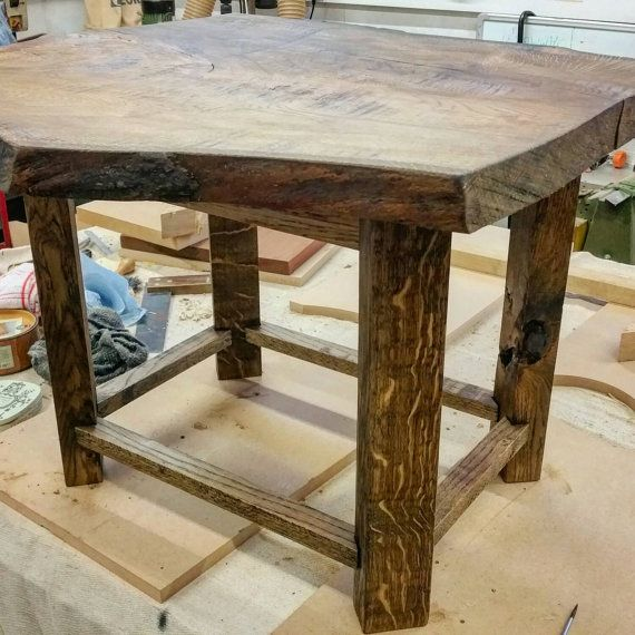 Reclaimed solid oak table. Aged. with a waxed by TwoPlanksHomeware