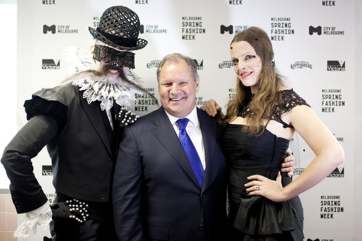 The initimitable Richard Nylon and Gwendolynne Burkin with irrepressible Melbourne lord mayor, Robert Doyle.