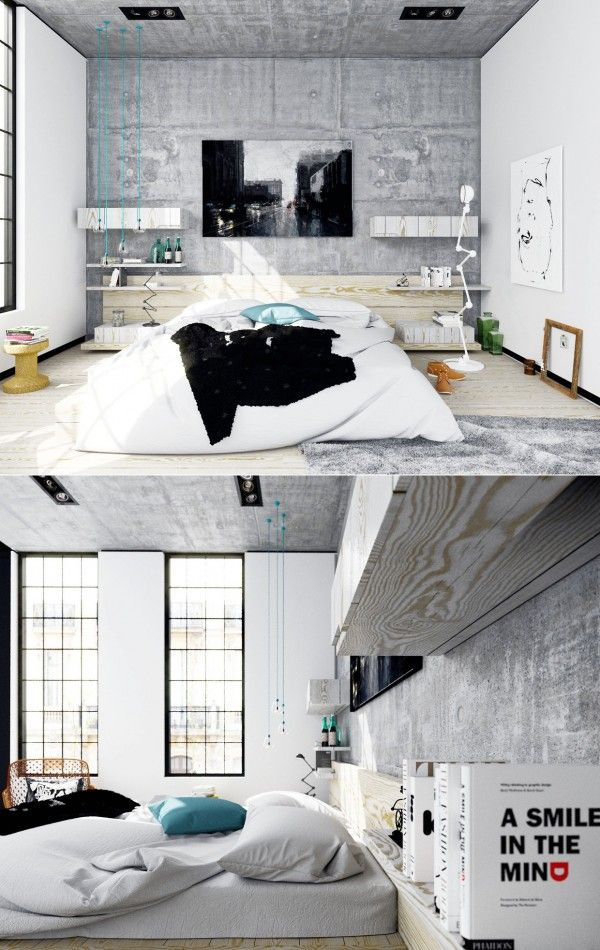 25 Newest Bedrooms That We Are In Love WithNewest Bedrooms, Bedrooms Concrete, Bedrooms Design, Concrete Bedrooms, Bedroom Decorating Ideas, Loft Bedrooms Exposed Concrete, Interiors Design, Concrete Lamp, Bedroom Designs