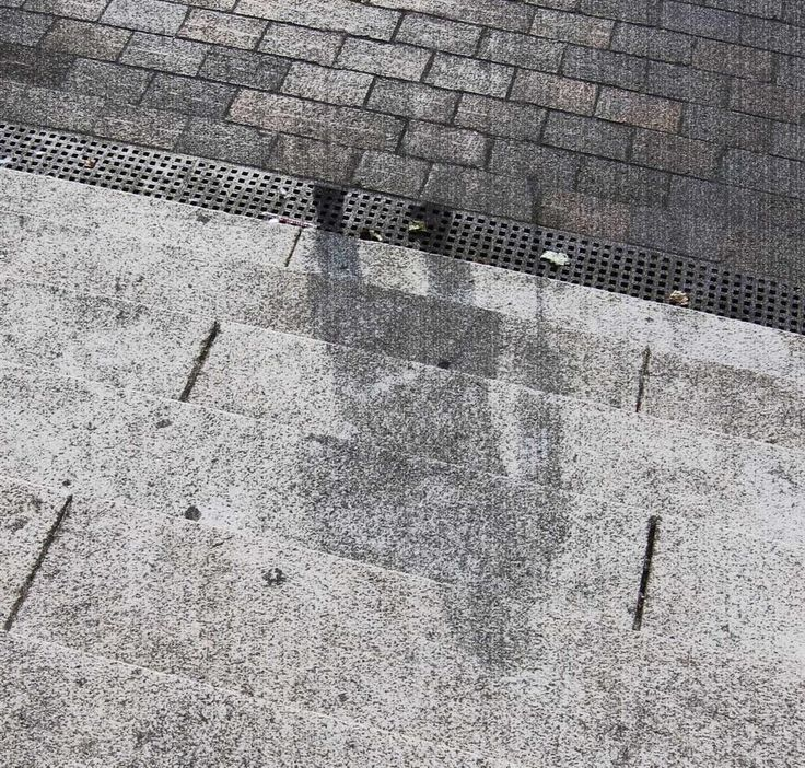 "The ""shadow"" of a Hiroshima victim, permanently etched into stone steps, after the 1945 atomic bomb"