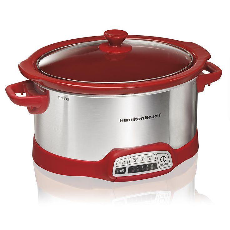 5 quart Slow Cooker Portable Crockpot Crock Pot Programmable Hamilton Beach 5 qt #HamiltonBeach