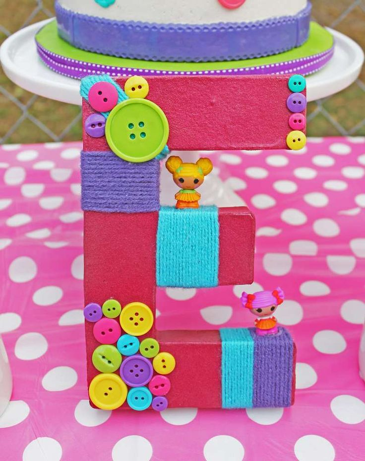 Check out this decorated letter at a LaLaloopsy birthday party! See more party ideas at CatchMyParty.com!