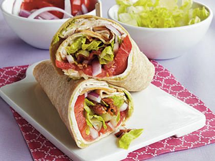 Turkey Club Wraps | This is a convenient pre game meal.