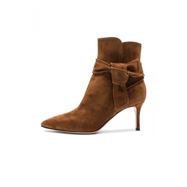 FSJ Fall and Winter Fashion Comfortable London Street Style Shoes,Women's Brown Bow Pointed Toe Soft Suede Stiletto Heel Vintage Boots for Work, Formal event, Christmas Party Outfit,Going out,Christmas Girlfriend Gifts|TOP DESIGN BY FSJ