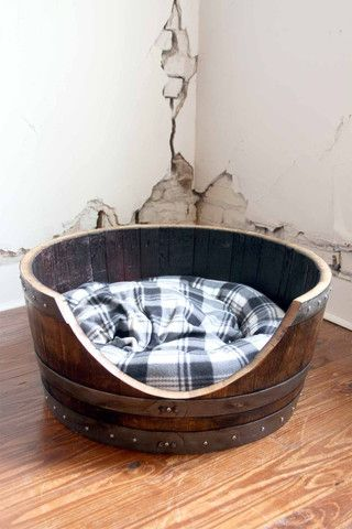 Reclaimed Napa Wine Barrel Large Pet Bed - $190
