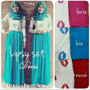 Lipsy Set Dress Harga: Rp. 100.000, Bahan: Spandek Rayon ukuran all size fit to xl Ready color: biru, toska, turkhis,fanta #Katalog_HijabManis #HijabCantik #Dress #Cantik