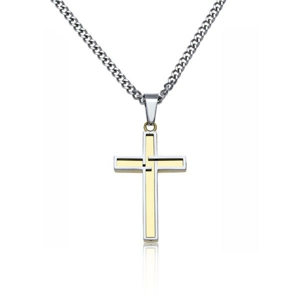 Belk  Co. Gold Mens Stainless Steel Cross Pendant ($60) ❤ liked on Polyvore featuring men's fashion, men's jewelry, men's necklaces, gold, mens cross pendant necklace, mens gold chain necklace, mens chains, mens chain necklace and mens stainless steel necklace