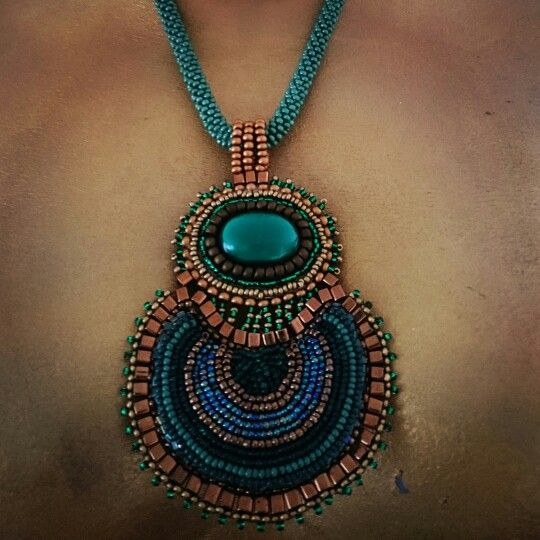 Beadcrocheted rope and pendant Eye of Sargass Sea