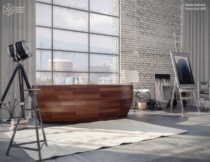 Unique Wood Design. Madra bathtub made in American Walnut wood.