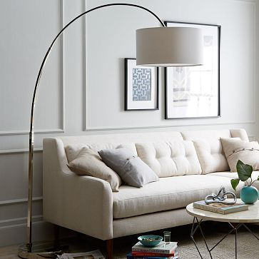 living room floor lamp. overarching floor lamp - polished nickel #westelmpolished base and arm; linen shade. living room p