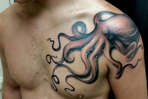 Octopus Tattoo on Shoulder by Ryson Lapenia