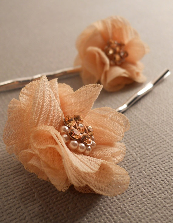 Bridal Flower Hair Pins Bridal Hair Accessory by BunnyBisous, $15.00