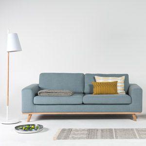 Canapé en lin L220 pieds en chêne Norway Arne Lykke - Bleu clair