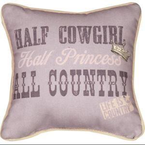 "10"" Half Cowgirl Half Princess Decorative Country Western Throw Pillow"