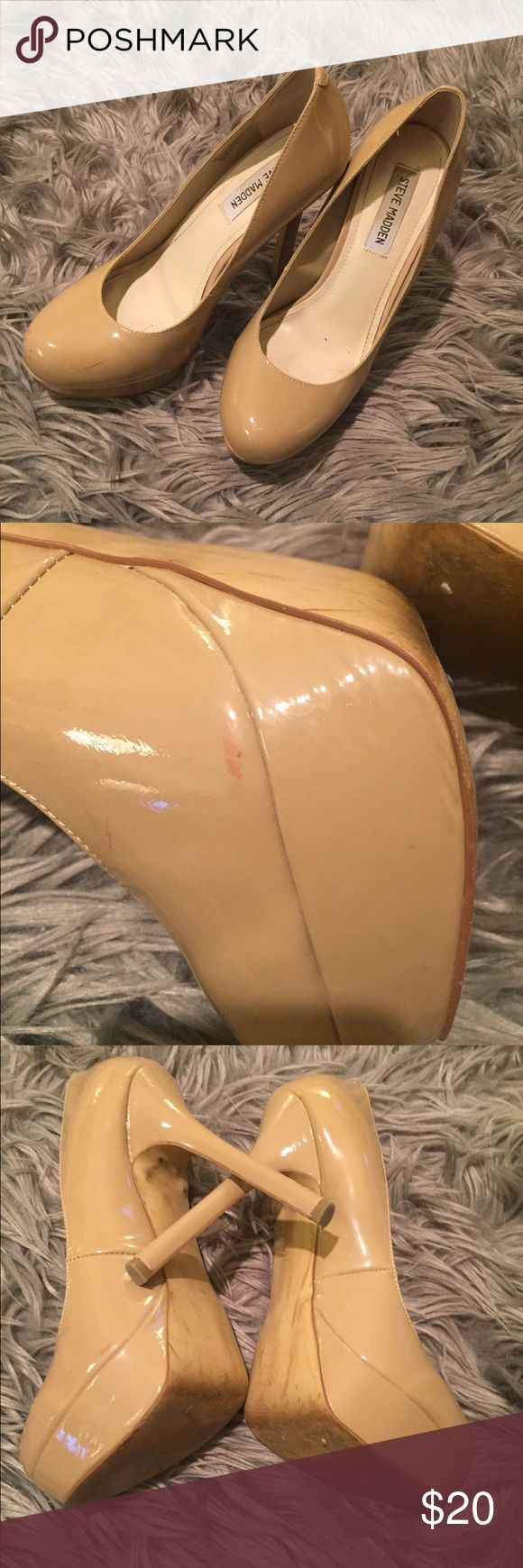 Nude Pumps Scuffs shown in pictures. I do not trade. Sold as it. Steve Madden Shoes Heels
