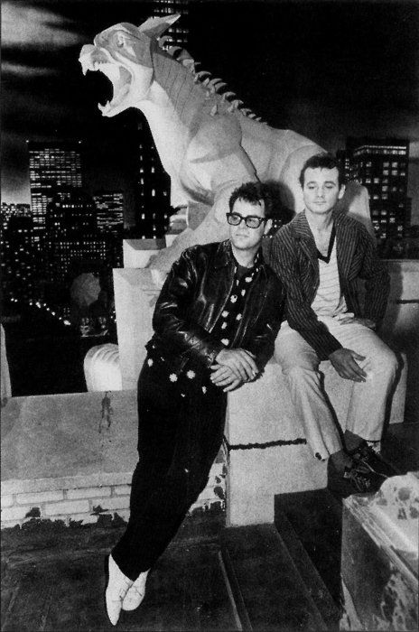 Bill Murray and Dan Akroyd on the Spook Central set of Ghostbusters.