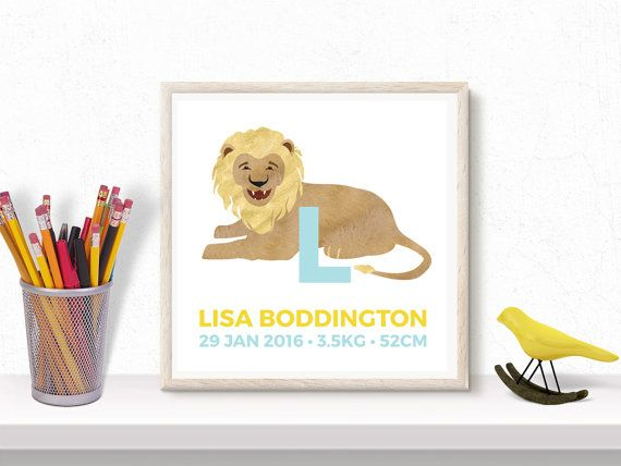 Custom text kids Art print, choose colours, birth details, letter, wall decor, animal illustration, printable, digital, baby gift, nursery