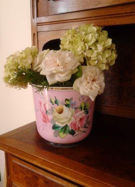 Antico vaso porcellana Vecchia Parigi '800 dipinto mano floreale