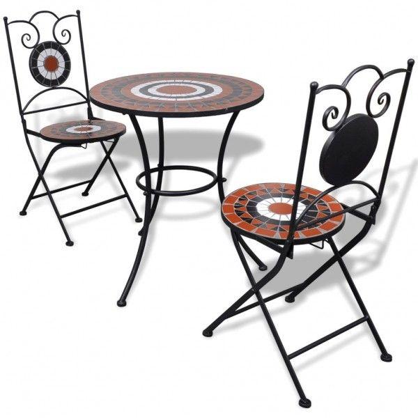 Garten Bistro Set Mosaik Stuhle Tisch 60 Cm Terrakotta Weiss