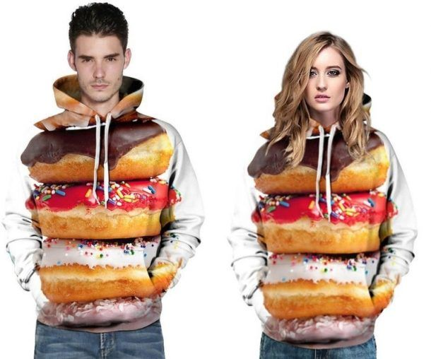 Donut Big Pockets Drawstring Hoodie Sweatshirt