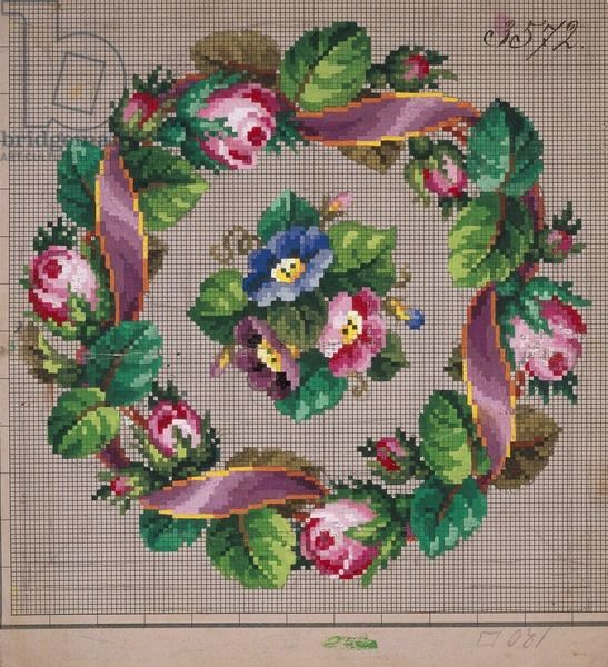 Crown of roses embroidery design with ribbon and bunch of anemones, 19th century