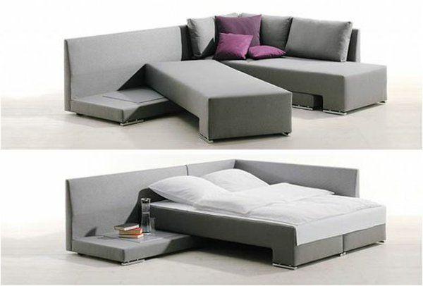 Bettsofa mit Matratze und Bettkasten grau modern