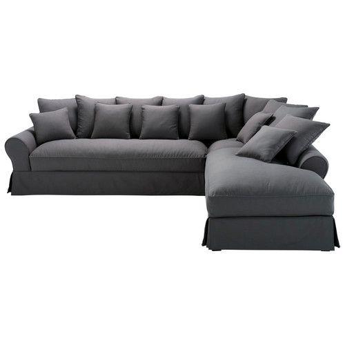 Canapé d'angle droit 6 places en coton gris ardoise